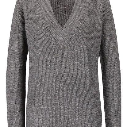 Šedý svetr s véčkovým výstřihem VERO MODA Miriam