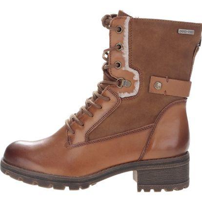 Hnědé semišové šňerovací boty Tamaris