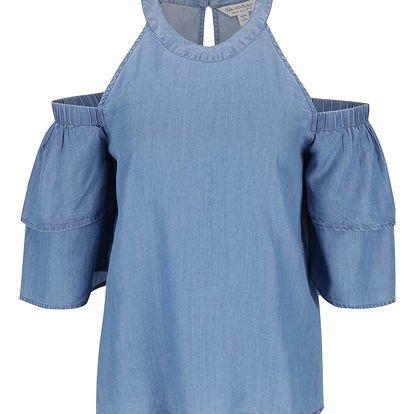 Modrý denimový top s průstřihy na ramenou Miss Selfridge