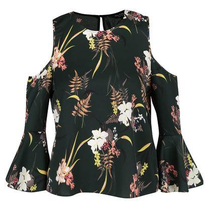 Tmavě zelená květovaná halenka s průstřihy na ramenou Miss Selfridge