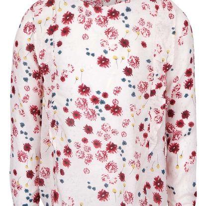Světle růžová holčičí květovaná halenka s dlouhým rukávem name it Welludi