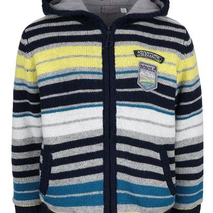 Pruhovaný klučičí svetr na zip Bóboli