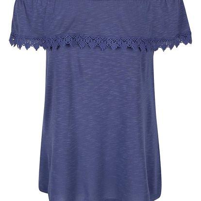 Modré žíhané tričko s odhalenými rameny Dorothy Perkins