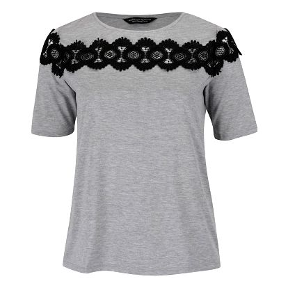 Šedé tričko s krajkovými detaily Dorothy Perkins Curve