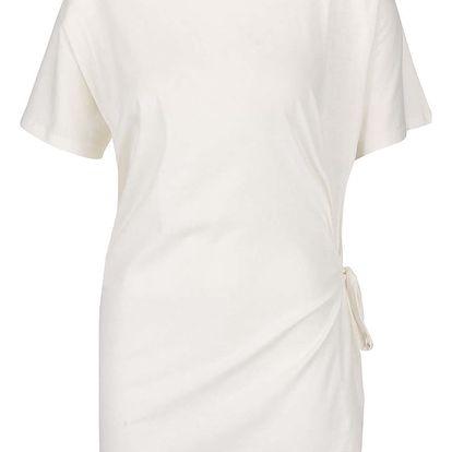 Krémové volnější tričko s vázáním na boku gsus