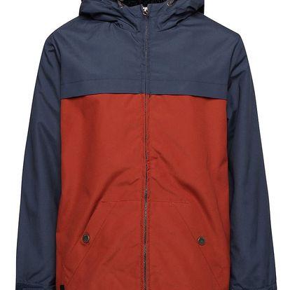 Cihlovo-modrá klučičí zimní bunda s umělým kožíškem Quiksilver