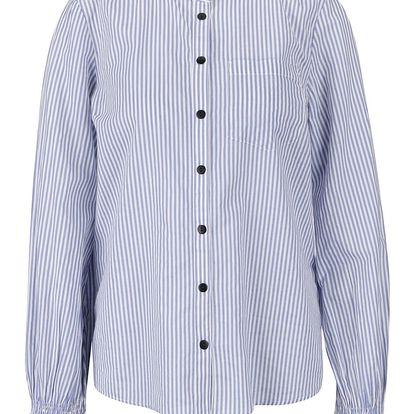 Bílo-modrá pruhovaná košile s nařasenými rukávy VERO MODA Saki