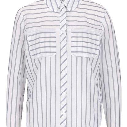 Šedo-krémová pruhovaná košile s mašlí Miss Selfridge Petites