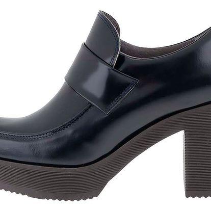Tmavě modré kožené boty na platformě OJJU
