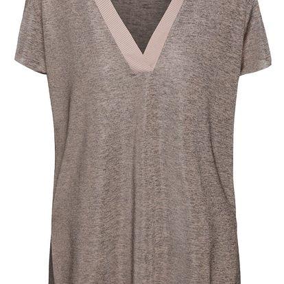 Starorůžové žíhané volnější tričko s lemem VILA Talon