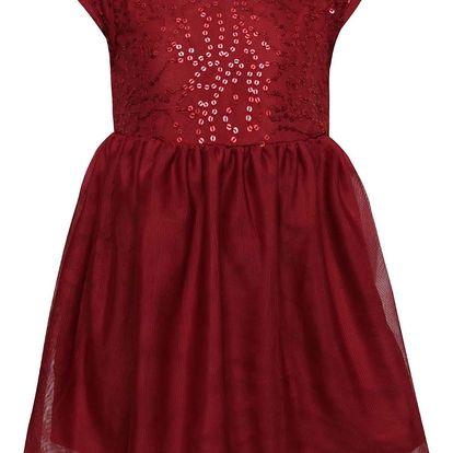 Vínové holčičí šaty s flitry name it Walliet