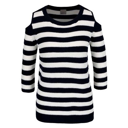 Krémovo-modrý pruhovaný svetr s průstřihy na ramenou VERO MODA Sailor