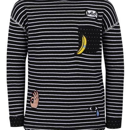 Černé pruhované holčičí tričko s nášivkami 5.10.15.