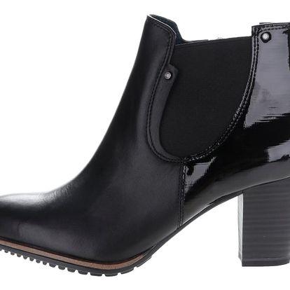 Černé kožené kotníkové chelsea boty na podpatku Tamaris