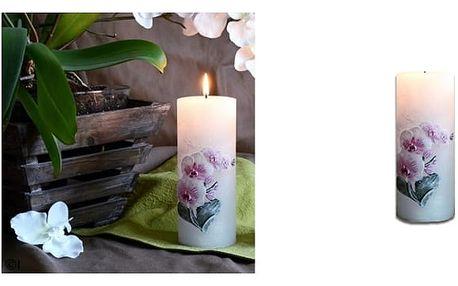 Velká svíčka orchidejoživí Váš interiér a zpříjemní svou vůní atmosféru Vašeho domova.