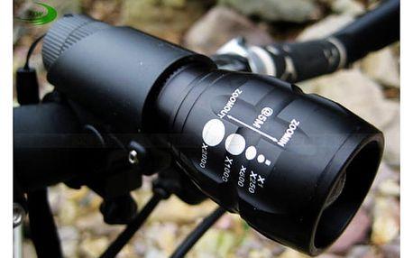 LED světlo na kolo s baterkou v jednom - černá barva