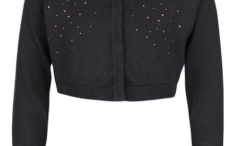 Tmavě šedý holčičí krátký svetr s aplikací name it Piloa