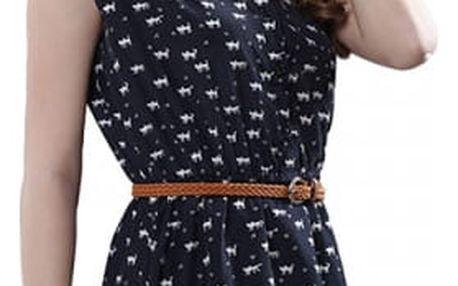 Dámské šaty bez rukávů s malými kočičkami