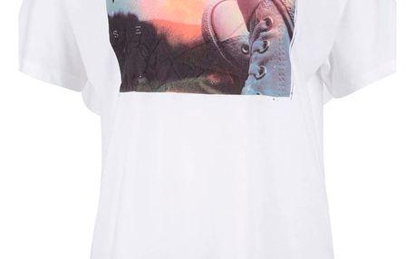 Krémové dámské tričko s barevným potiskem Converse