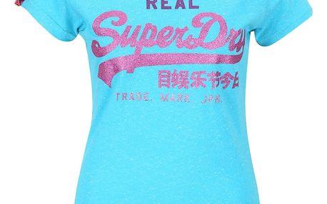 Tyrkysové dámské tričko s nápisem Superdry