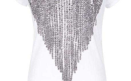 Krémové tričko s potiskem a kamínky Rich & Royal