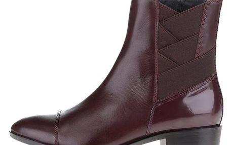 Vínové dámské kožené chelsea kotníkové boty s gumou Geox Lover