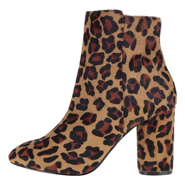 Hnědé kotníkové boty s leopardím vzorem Miss Selfridge Dee