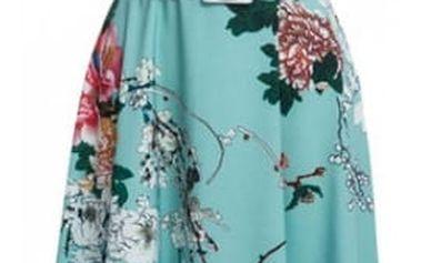 Letní tyrkysové šatičky s květy a páskem - 4 velikosti