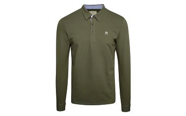 Khaki polo triko s dlouhým rukávem Selected Homme Marco
