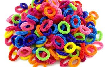 Sada gumiček do vlasů - 100 ks - různé barvy