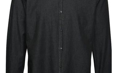 Černá džínová košile bez límečku Burton Menswear London