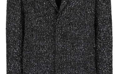 Černý žíhaný kabát s příměsí vlny Selected Homme Giovanni