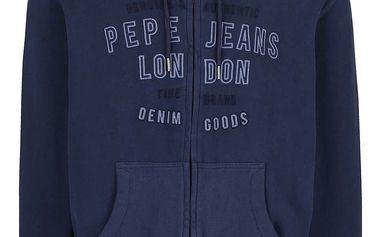 Tmavě modrá pánská mikina na zip s nápisem Pepe Jeans Tryton