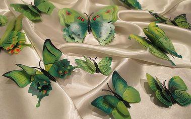 Nalepte.cz 3D motýli s dvojitými křídly zelení 12 ks 5 až 12 cm