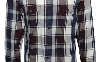 Modro-fialová pánská károvaná slim fit košile s.Oliver
