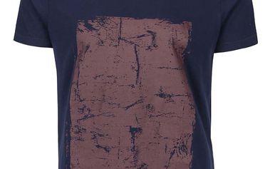 Tmavě modré triko s véčkovým výstřihem a vínovým potiskem Blend