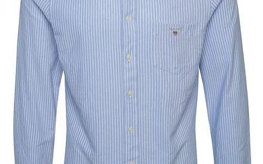 Krémovo-modrá pánská pruhovaná košile GANT Pique