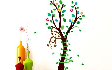 Nalepte.cz Malý strom s opičkou 40 x 89 cm