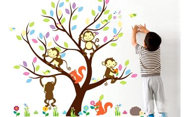 Nalepte.cz Strom a hravé opičky 110 x 91 cm