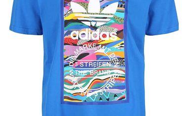 Modré pánské triko s barevným potiskem adidas Originals Color
