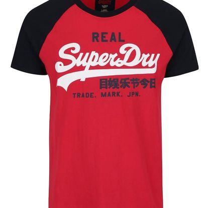 Černo-červené pánské triko s potiskem Superdry