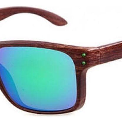 Unisexové sluneční brýle s imitací dřeva