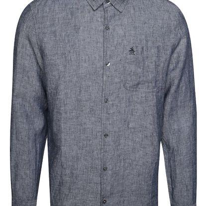 Šedá lněná košile Original Penguin Nep linen