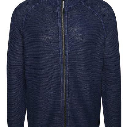 Tmavě modrý pánský žíhaný svetr na zip s.Oliver
