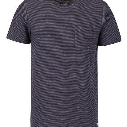Tmavě modré pruhované triko s kapsou Jack & Jones Orson