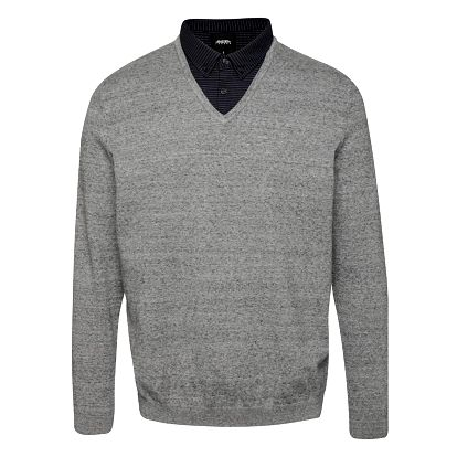 Šedý žíhaný svetr s košilovým límcem Burton Menswear London