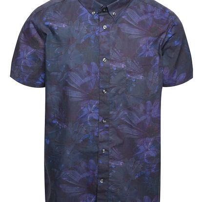 Vínovo-fialová košile s květinovým potiskem a krátkým rukávem Burton Menswear London
