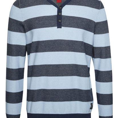 Modrý pánský pruhovaný svetr s knoflíky s.Oliver