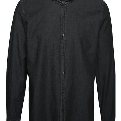 Černá denimová košile bez límečku Burton Menswear London