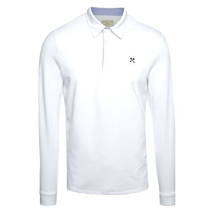 Bílé polo triko s dlouhým rukávem Selected Homme Marco